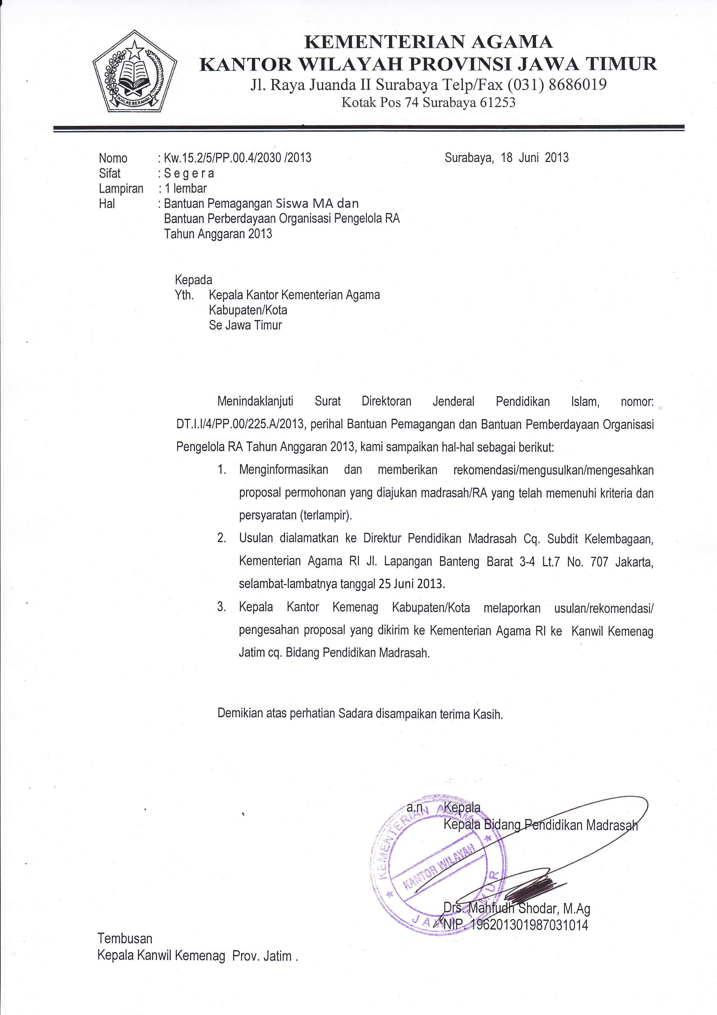 19 June 2013 Seksi Pendidikan Madrasah