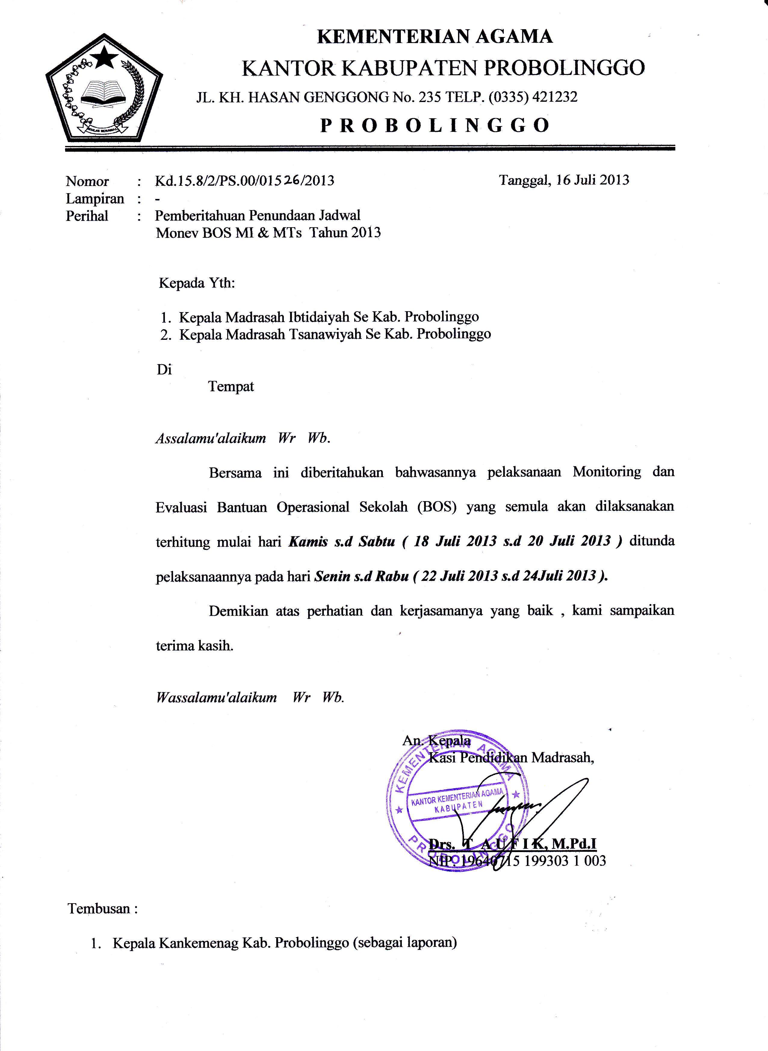 Bag Sarana Seksi Pendidikan Madrasah